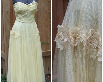 SOLD Vintage 1950s Annette Yellow Tulle Strapless Prom / Wedding Dress With Flower and Butterfly Detail