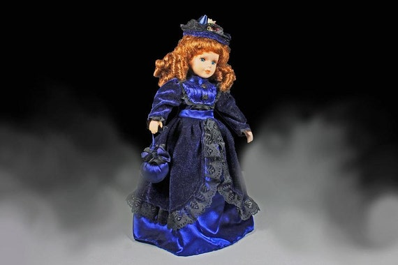 Porcelain Doll, Totsy, Victorian Dress,  Doll With Bag, Brown Hair, Blue Eyes, 17 Inch, Display Doll, Stand Included