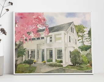 Original Custom House Painting of your home painted in watercolor