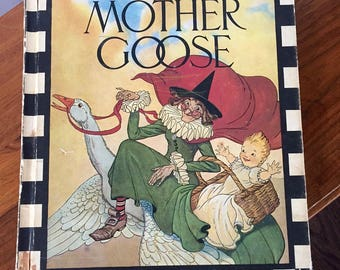 1970 REAL MOTHER GOOSE, Vintage Mother Goose book, Rand McNally & Co., Children's Nursery Rhymes, Child's Illustrations