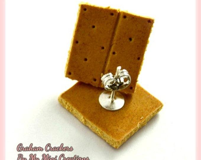 Graham Cracker Stud Earrings, Polymer Clay, Miniature Food, Miniature Food Jewelry
