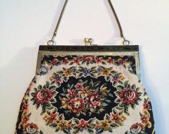 Vintage Tapestry Bag, Floral Evening Bag, Evening Bag, Tapestry Purse, Handbags, Vintage