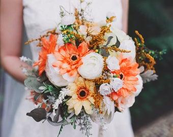 Wedding bouquet Orange summer flower bouquet bridal bouquet Bouquet with gerbera Wedding bouquet Bridal flower bouquet