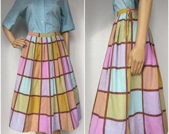 1950s Pastel Color Block Skirt - Small - Vintage