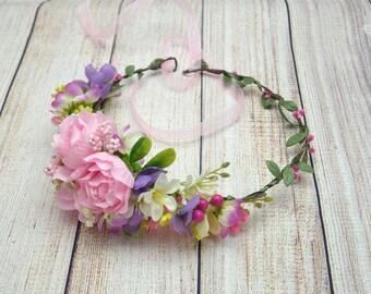 Pink flower crown Wedding floral crown Wedding headband Bridal flower halo Bridal pink wreath Rose wedding wreath Pink Flower wreath