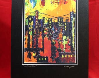 Abstract City scape,  Urban Landscape Painting, Fire in the City, Matted City on fire, Orange, Red, Yellow Abstract City Print, Urban Art
