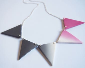 Triangle Necklace Pink Gray Necklace ( ombre necklace geometric necklace modern necklace triangle jewelry polymer clay jewelry )