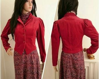Vintage With Tags Laura Ashley Red Corduroy Edwardian Jacket Boho / UK 8 10 / EU 36 38 / US 4 6