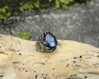 "Sterling Silver Mens Labradorite Ring ""Thor's Hammer"" MADE TO ORDER, mens ring, viking ring, viking jewelry, mjolnir ring, mens jewelry"