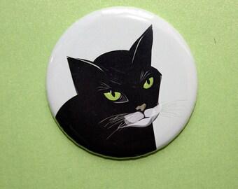 Großer Magnet mit Katze//56 mm//Kühlschrankmagnet//Küchendeko//Kinderzimmer Deko//schwarze Katze//by stuudio
