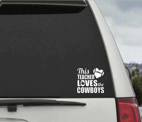 This Teacher Loves The Cowboys Football Heart Decal - Car Window Decal Sticker