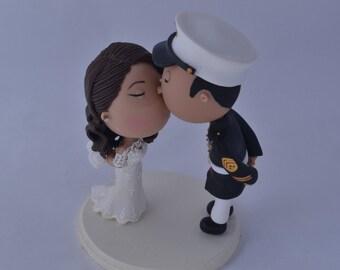 Wedding cake topper. US Marine Corps. Marine Officer. Handmade. Fully customizable. Unique keepsake
