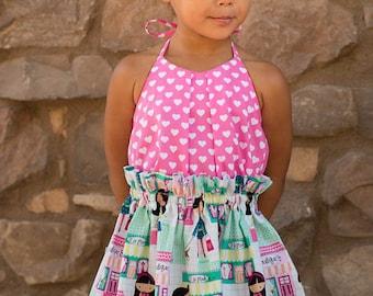 Kamaria, Top, Dress and Sunsuit, Girls Pattern, PDF Patterns, Ruffle dress, Girls Dress Pattern, Tops, Sunsuit, PDF