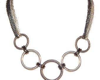 Interlocking Rings Bib Necklace / Collar / SALE / Circle Link Chain / Large Link / Rope Rings / Graduated - E971