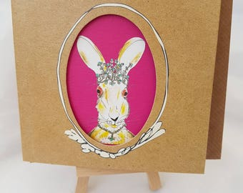 Dizzy Blonde Hare Best mate blank card, Humorous character drawing card for her with fushia pink inside, Great card for a blonde freind
