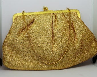 Vintage evening bag - gold kisslock clutch