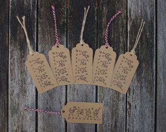 Present gift tags - Christmas gift tags, Robin gift tags, Robin gift, Festive tags, Xmas tags, Gift wrapping, Xmas tags, Rustic tags, Kraft