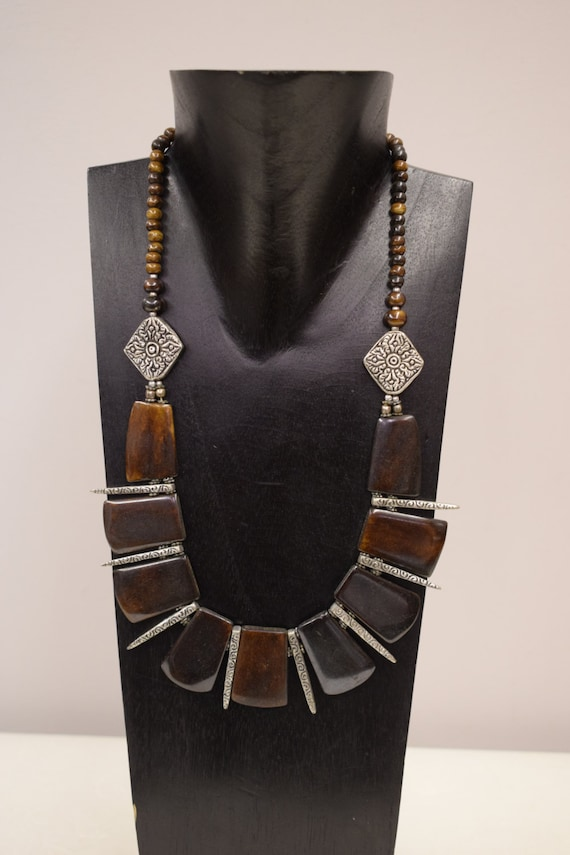 Necklace Vintage Brown Rectangular Pendants Silver Spikes Beads Handmade Etched Silver Beads Spikes Beads Necklace One of a Kind G