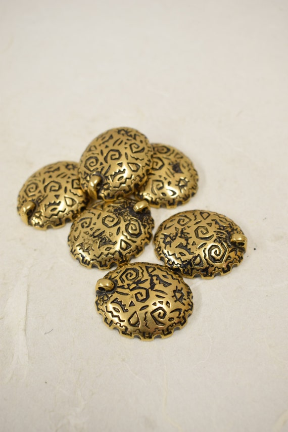 Beads Vintage 6 Antique Gold Plated Pierced or Clip Earrings Pendant Handmade Jewelry Necklaces Bracelets Earrings Creative Vintage  Beads 4