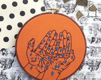 Star Hands Hand Embroidery Astrology Astronomy Embroidery Science Stars Night Sky Constellation Galaxy Space Stitched Art Hand Shape Art