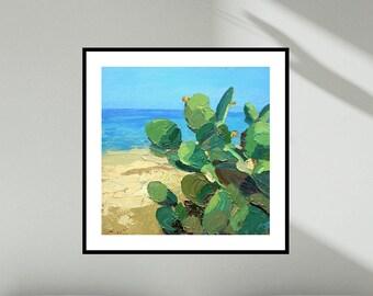 Cactus Prints Beach Art Prints Coastal Art Green Prints Sand Prints Beach House Decor Summer Art Cactus Art Prints Beach Wall Art Beach