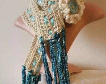 Skinny Scarf Crochet Scarf Lariat OOAK Boho Infinity Scarf