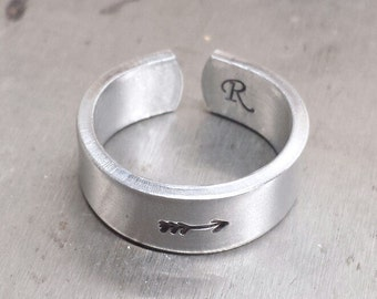 SALE Silver Stamped Ring - Arrow Ring - Stamped Sterling - Arrow Jewelry - Hand Stamped Ring - Gift for Her - Silver Ring
