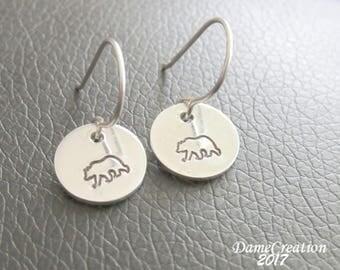SALE Small Disc Earrings - Bear Earrings - Grizzly Earrings - Animal Earrings - Nature Jewelry - Stamped Earrings - Wildlife Jewelry