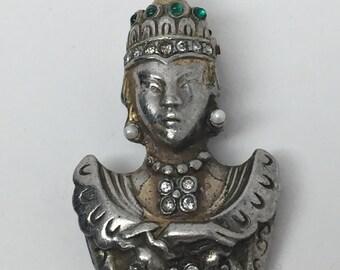 RARE Vintage Asian Princess Pot Metal & Rhinestone Figural Fur Clip Pin Brooch