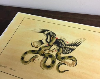 Tattoo flash by Olivia Dawn, Eagle and snake fight A3 #18