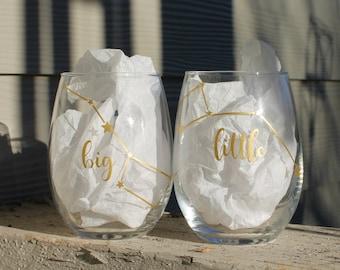 Big Little Sorority Stemless Wine Glass, Sorority Rush Gift, Big Dipper Little Dipper, Shooting Star