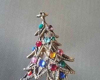 Vintage Jeweled Christmas Tree  Brooch Pin