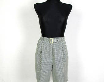 Vintage 80's 90's Green White  Plaid Checkerd High Waisted  Belted Shorts Size M