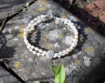 Ivory freshwater Pearl & Sterling Silver Twin Strand Heart  Bracelet