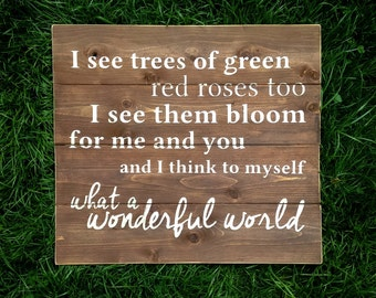 What A Wonderful World Wood Sign | White on Wood Stain