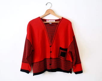 Red Striped Slouchy Cardigan