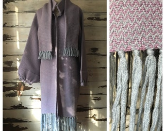 Vintage 60s fringed knit jacket / scarf set / lavender and pale blue / stand collar / bishop sleeve // Aspen //