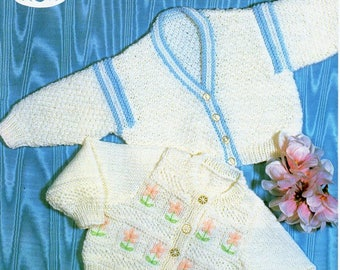 "baby knitting pattern pdf baby cardigans embroidered flowers jacket baby boy baby girl 19-21"" DK light worsted 8ply pdf instant download"