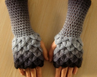 Dragon Scale Fingerless Gloves, Dragon Gloves, Crocodile Fingerless Gloves, Gift For Her, Gift For Christmas /// Formalhouse