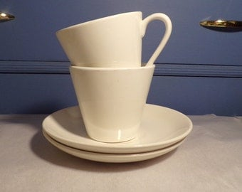 SYRALITE Cups by syracuse USA - Saucers are not stamped just white, they are not a matched set