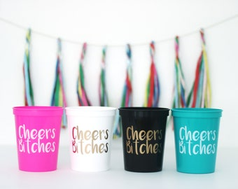 Cheers Bitches Cup, Bachelorette Gift, Bridesmaid Gift, Bachelorette Decor, Cheers party cup, bachelorette cup, party stadium cup, cheers