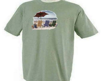 Beach Chairs and Umbrella Vacation Beach Scene T-Shirt