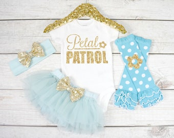 Baby Petal Patrol Outfit, Baby Flower Girl Outfit, Flower Girl Baby, Flower Girl Bodysuit, Baby Wedding Outfit (S30) (FWG) (AQUA)