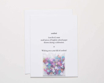 Confetti Birthday Card with Confetti - Happy B-day Card - celebration for friend - birthday wishes - Letterpress Cards by Of Note Stationers