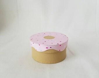 Mini pink icing donut trinket box