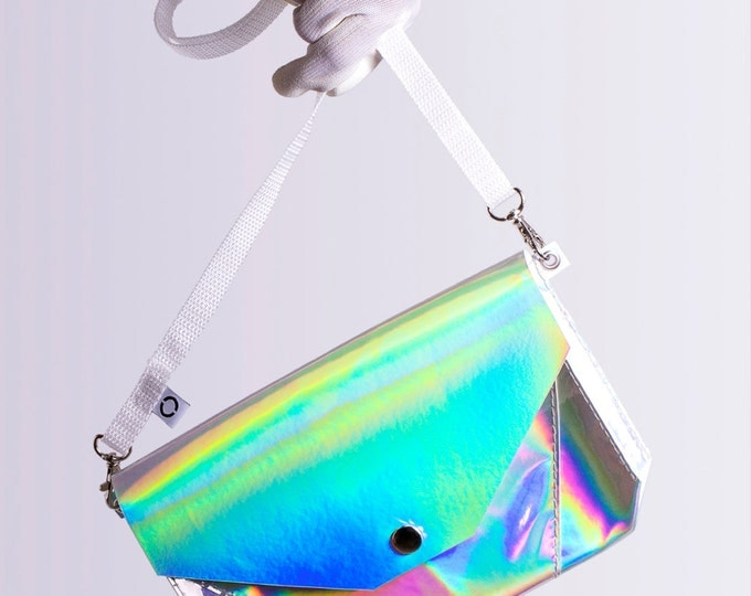 silver holographic bum bag / cross body bag