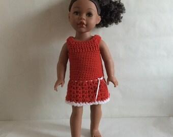 "Sale AG Christmas Dress Crochet Red dress American Girl, Madame Alexander, 18"" Doll Ready to Ship"