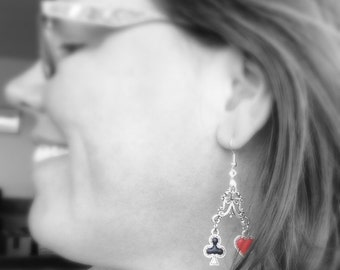 Card Shark Earrings, Four Suits Good Luck Earrings, Games Spades Diamonds Clubs Hearts Poker Flush Pair Pinochle