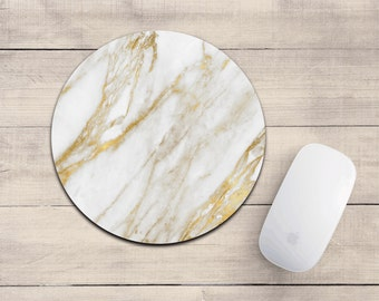 Gold Marble mousepad/white + gold marble/marble mousepad/mousepad/desk accessory/cute mousepad/marble decor/gold