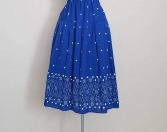 Vintage Midi Skirt - 1980's Blue and White Polka Dots & Tulip Skirt - Harlequin - Bright Cobalt Royal Blue Skirt - Size M/L